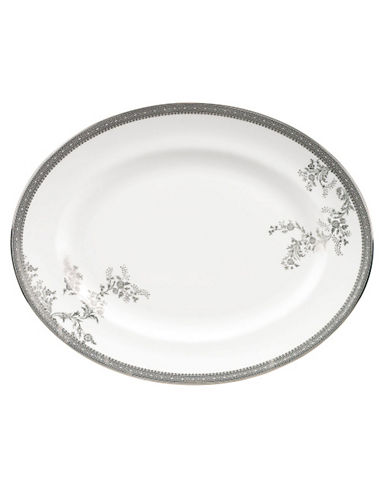 Vera Wang Vera Lace Platinum Oval Platter-WHITE-One Size