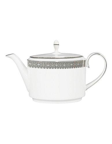 Vera Wang Vera Lace Platinum Teapot-WHITE-One Size