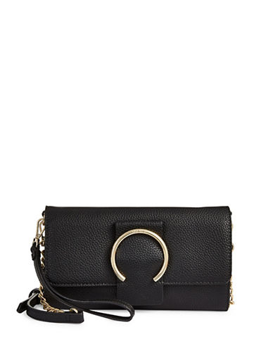 Nine West Deluxe Flap Crossbody Bag-BLACK-One Size