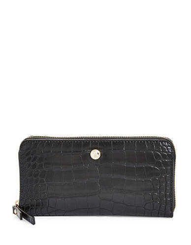 Nine West Exotic Zip-Around Wallet-BLACK-One Size