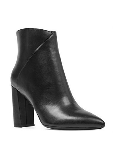 Nine West Argyle Leather Booties-BLACK LEATHER-8.5