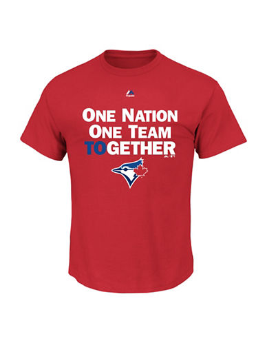Majestic Toronto Blue Jays One Nation One Team T-Shirt-SCARLET-Small