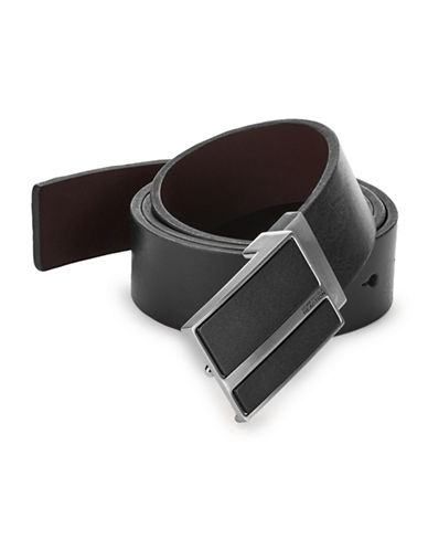 Kenneth Cole Reaction Reversible Plaque Leather Belt-BLACK/BROWN-34