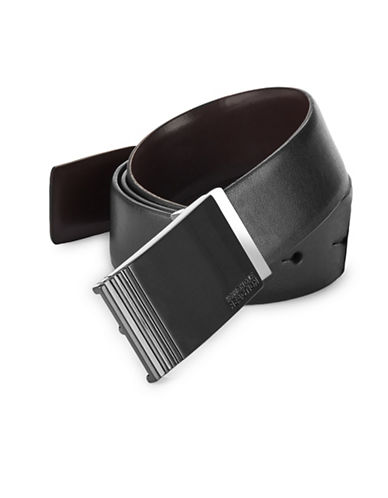 Kenneth Cole Reaction Reversible Plaque Faux Leather Belt-BLACK/BROWN-38