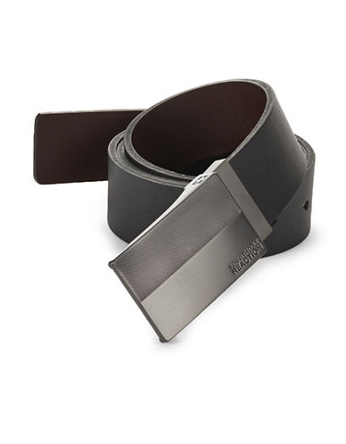 Kenneth Cole Reaction Reversible Plaque Faux Leather Belt-BLACK/BROWN-36