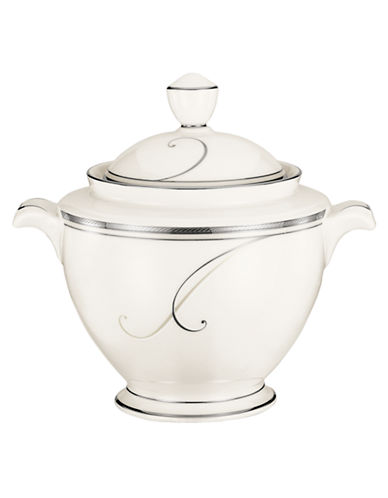 Noritake Platinum Wave Sugar With Cover-IVORY-One Size