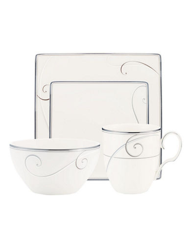 Noritake Platinum Wave 4 Piece Square Place Setting-WHITE-One Size