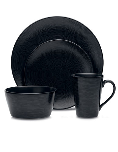 Noritake BoB Swirl 4 Piece Place Setting-BLACK-One Size