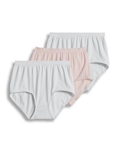 Jockey Three-Pack Cotton Briefs-WHITE/PINK-8