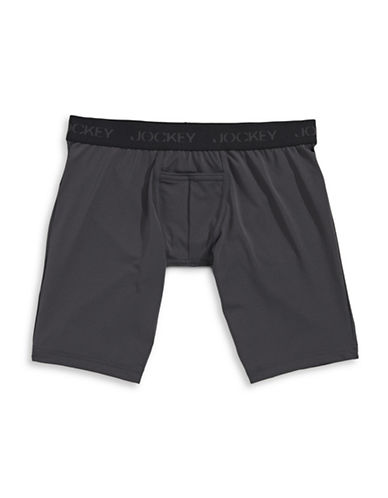 Jockey Microfibre Performance Midway Boxer Briefs-GREY/BLACK-Medium