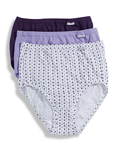Jockey Three-Pack Elance Combed Cotton Briefs-PURPLE-7