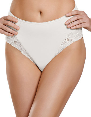 Jockey Jockey Cotton Shaping Hi Cut with Lace Style 7701-WHITE-X-Large