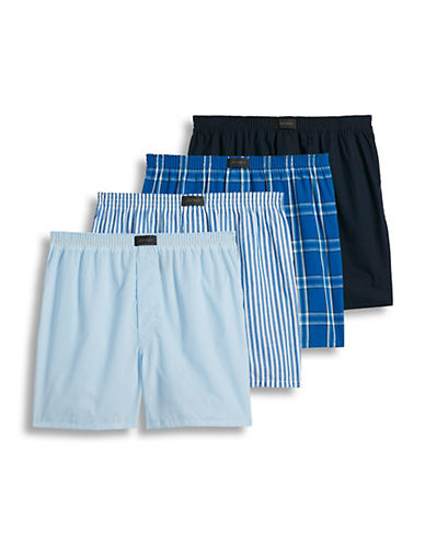 Jockey Four-Pack Tailored Woven Boxers-NAVY-Medium