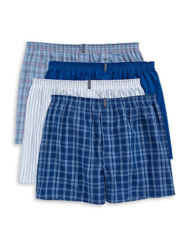 Jockey Four-Pack Classic Full-Cut Boxers-BLUE-Large
