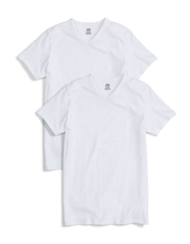 Jockey Two-Pack Cotton Stretch Slim Fit V-Neck T-Shirts-WHITE-X-Large