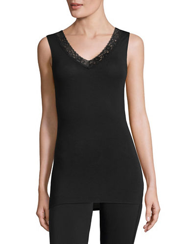 Jockey Thermals Lace Trim Camisole-BLACK-Small