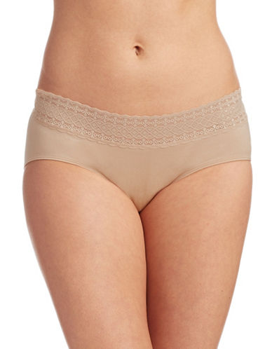 Jockey Seamfree Lace Trim Hipster Briefs-BEIGE-5