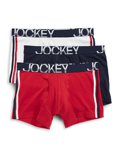 Jockey Three-Pack Stretch Midway Briefs-WHITE/NAVY-Large