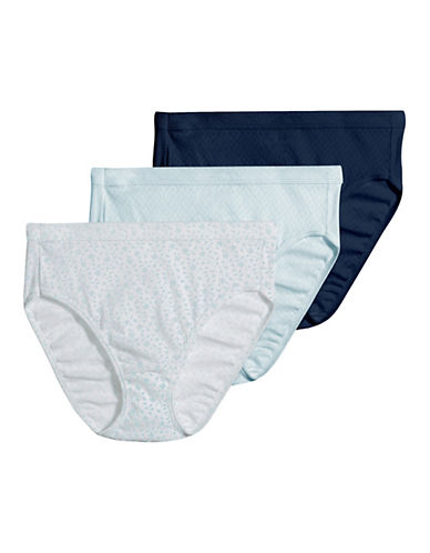 Jockey Three-Pack Elance Breathe French Cut Briefs-BLUE MULTI-8