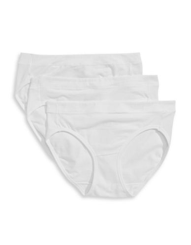 Jockey Three-Pack Elance Stretch Bikini Briefs-WHITE-5