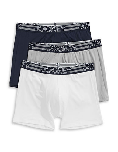Jockey Three-Pack Active Micro Boxer Briefs-NAVY ASSORTED-X-Large