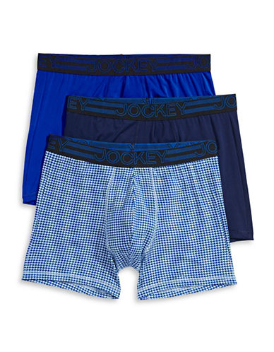 Jockey Three-Pack Active Micro Boxer Briefs-BLUE ASSORTED-X-Large