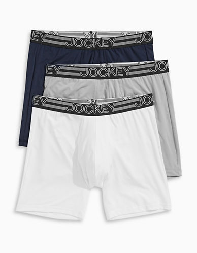 Jockey Three-Pack Active Micro Midway Briefs-NAVY ASSORTED-Large
