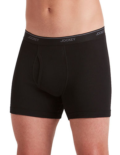 Jockey Three-Pack Staycool Plus Boxer Briefs-BLACK-Small
