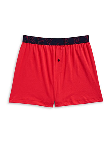 Jockey Active Blend Knit Boxer-POPPY RED-Large