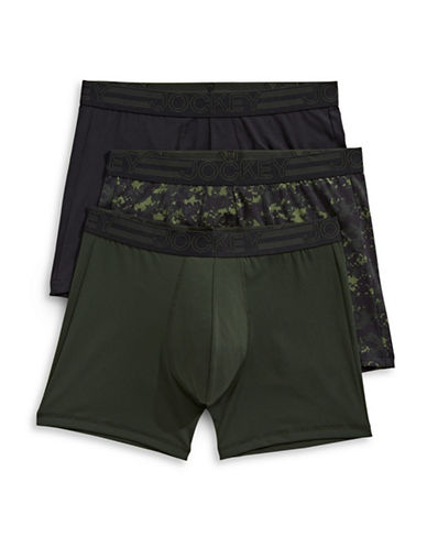 Jockey Three-Pack Active Micro Boxer Briefs-GREEN-X-Large