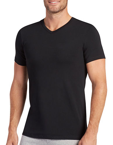Jockey Two-Pack Cotton Stretch V-Neck T-Shirts-BLACK-X-Large