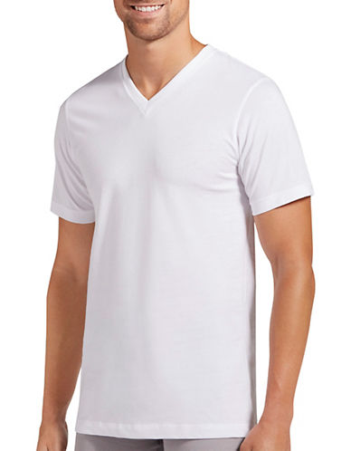 Jockey Two-Pack Cotton Stretch V-Neck T-Shirts-WHITE-Small