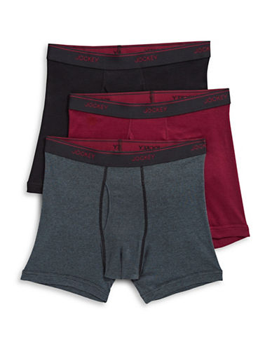 Jockey Three-Pack Staycool Plus Boxer Briefs-RED-Large