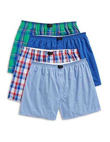 Jockey Four-Pack Tailored Woven Boxers-GREEN-Large