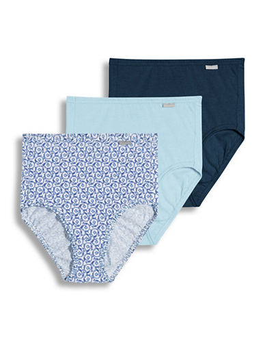 Jockey Three-Pack Elance Combed Cotton Briefs-BLUE ASSORTED-7