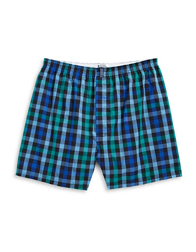 Jockey Checkered Boxer Shorts-GREEN/BLUE-X-Large