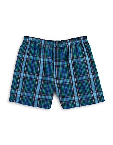Jockey Checkered Boxer Shorts-BLUE-Medium
