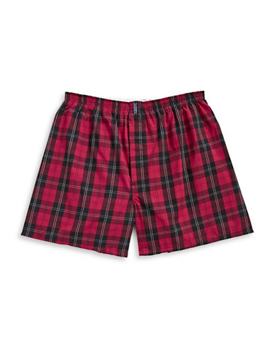 Jockey Checkered Boxer Shorts-RED-Medium