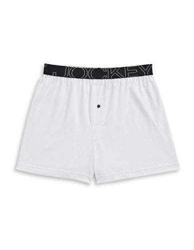 Jockey Active Blend Knit Boxer-WHITE-Large