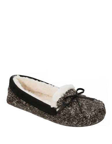 Dearfoam Moccasin Slippers-BLACK-Large