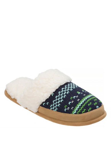 Dearfoam Patterned Knit Slippers-BLUE-Large