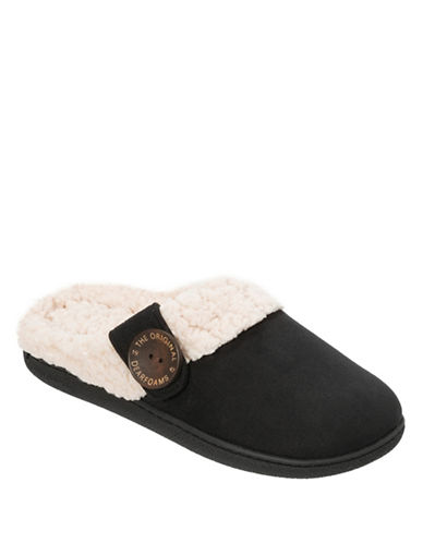 Dearfoam Microsuede Clog Buttoned Slippers-BLACK-Small