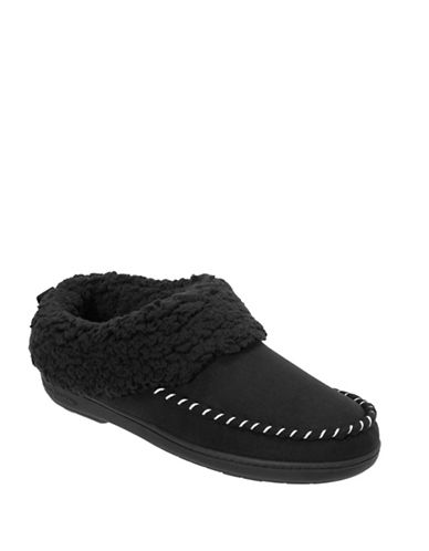 Dearfoam Microfiber Suede Whipstitch Slippers-BLACK-Medium