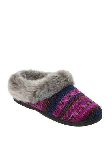 Dearfoam Pattern Knit Clogs Lurex Slippers-PEACOAT-X-Large
