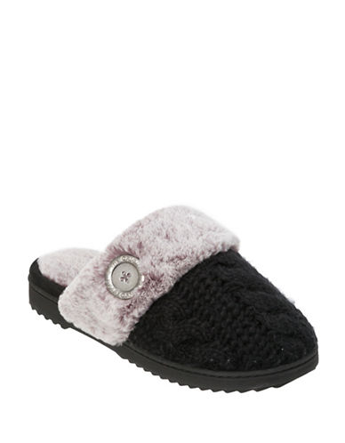 Dearfoam Cable Knit Scuff Slippers-BLACK-Small