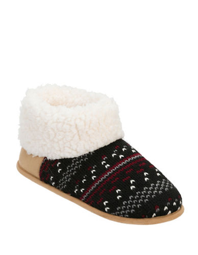 Dearfoam Patterned Knit Bootie Slippers-BLACK-Medium