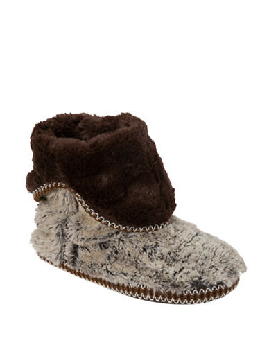 Dearfoam Pile Fold Boot Slippers-BROWN FROST-Large