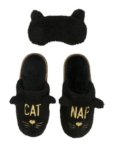 Dearfoam Cat Nap Scuff Slippers with Eye Mask-BLACK-Large
