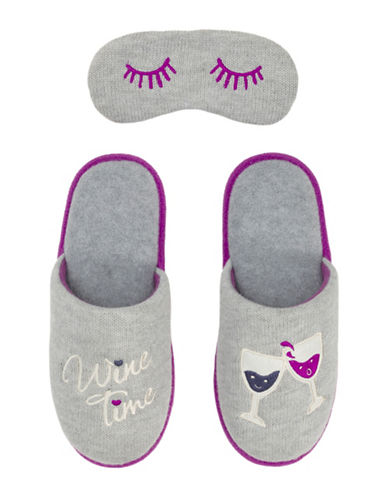 Dearfoam Cat Nap Scuff Slippers with Eye Mask-GREY-X-Large