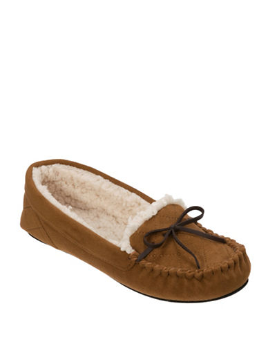Dearfoam Quilted Moccasin Slippers-BROWN-X-Large